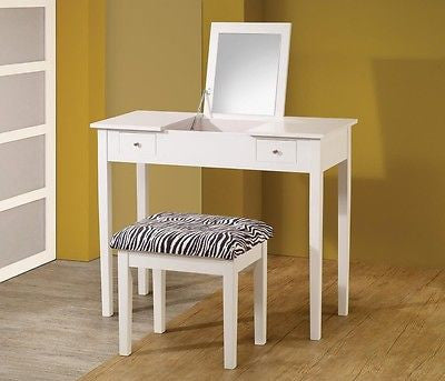 CONTEMPORARY WHITE VANITY WITH FLIP TOP MIRROR DRESSING TABLE & BENCH SET