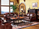 STYLISH THREE TONE PLUM BURGANDY & BROWN 100% LEATHER SOFA LIVING ROOM FURNITURE
