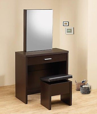 ULTRA MOD BROWN VANITY WITH SLIDING MIRROR DRESSING TABLE U0026 BENCH SET