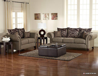 BROWN MARBLE PLUSH CONTEMPORARY SOFA & LOVESEAT WITH THROW PILLOWS FURNITURE SET