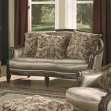 SLEEK LUXURIOUS WOOD TRIMMED SOFA, LOVE SEAT & ARM CHAIR LIVING ROOM FURNITURE