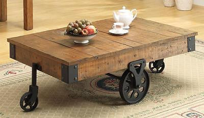 RUSTIC DISTRESSED WAGON WHEEL COCKTAIL COFFEE OCCASIONAL TABLE FURNITURE