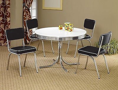 Office Cabin Interior Design, 1950s Style Chrome Retro Dining Table Set Black Chairs Dining Room Fur Thom S Furniture Treasures