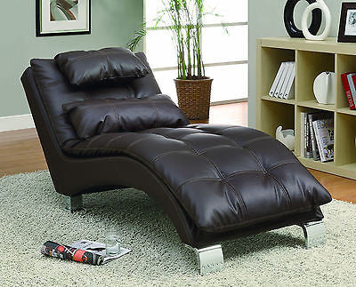 PILLOW TOP LEATHER LIKE BROWN CHAISE RECLINER RECLINING CHAIR & ACCENT PILLOW