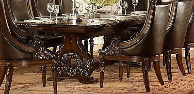 "GRAND DARK CHERRY 108"" FORMAL DINING TABLE 8 BROWN LEATHER CHAIRS FURNITURE SET"