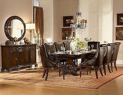 grand dark cherry 108 formal dining table 8 brown leather chairs rh thomsfurnituretreasures com