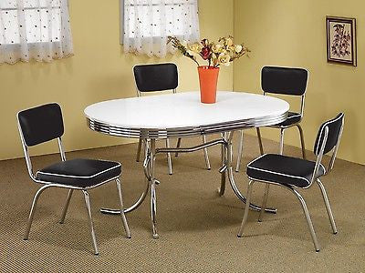 1950s Style Chrome Retro Dining Table Set Black Chairs Dining Room Fur Thom S Furniture Treasures