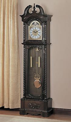 NEW TRADITIONAL STYLE CHIMING BATTERY POWERED GRANDFATHER CLOCK