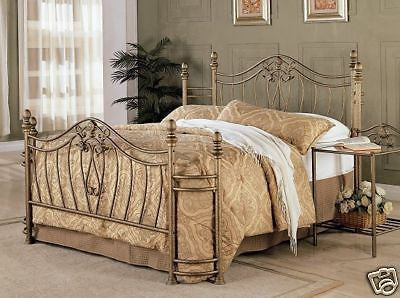 BEAUTIFUL BRUSHED GOLD QUEEN IRON BED BEDROOM FURNITURE