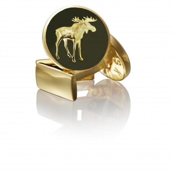 Skultuna Cufflinks Moose Gold - Green
