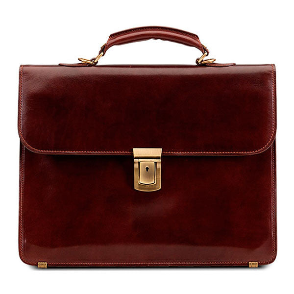 Baron Briefcase Small Chestnut Brown Leather - smukke detaljer