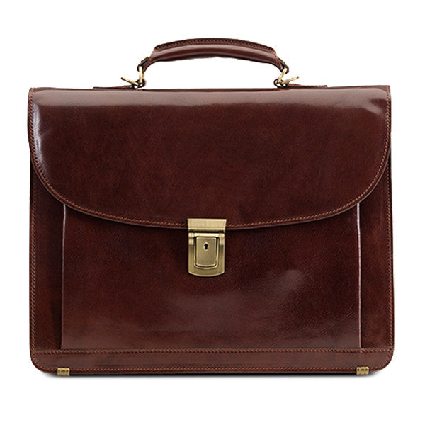 Baron Briefcase Classic Chestnut Brown Leather - smukke detaljer