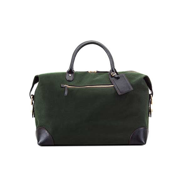 Baron Weekend Bag Small Green Canvas - Smukke detaljer