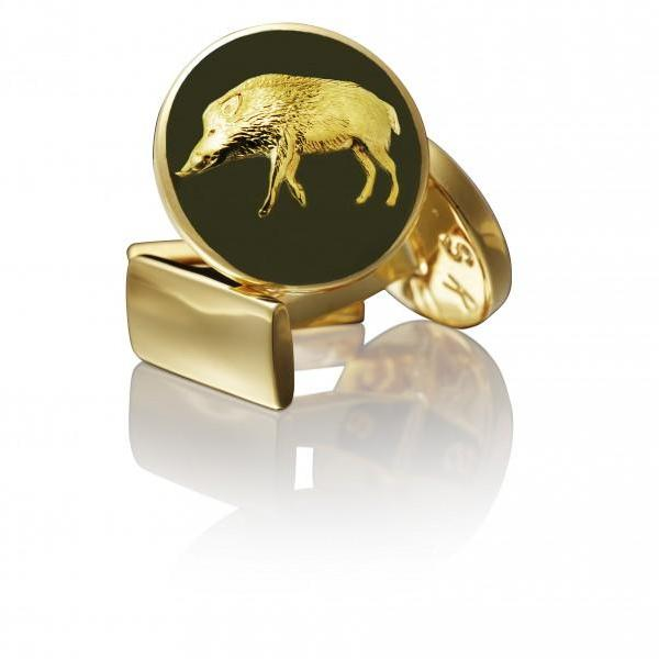 Skultuna Cufflinks Wild Boar Gold - Green