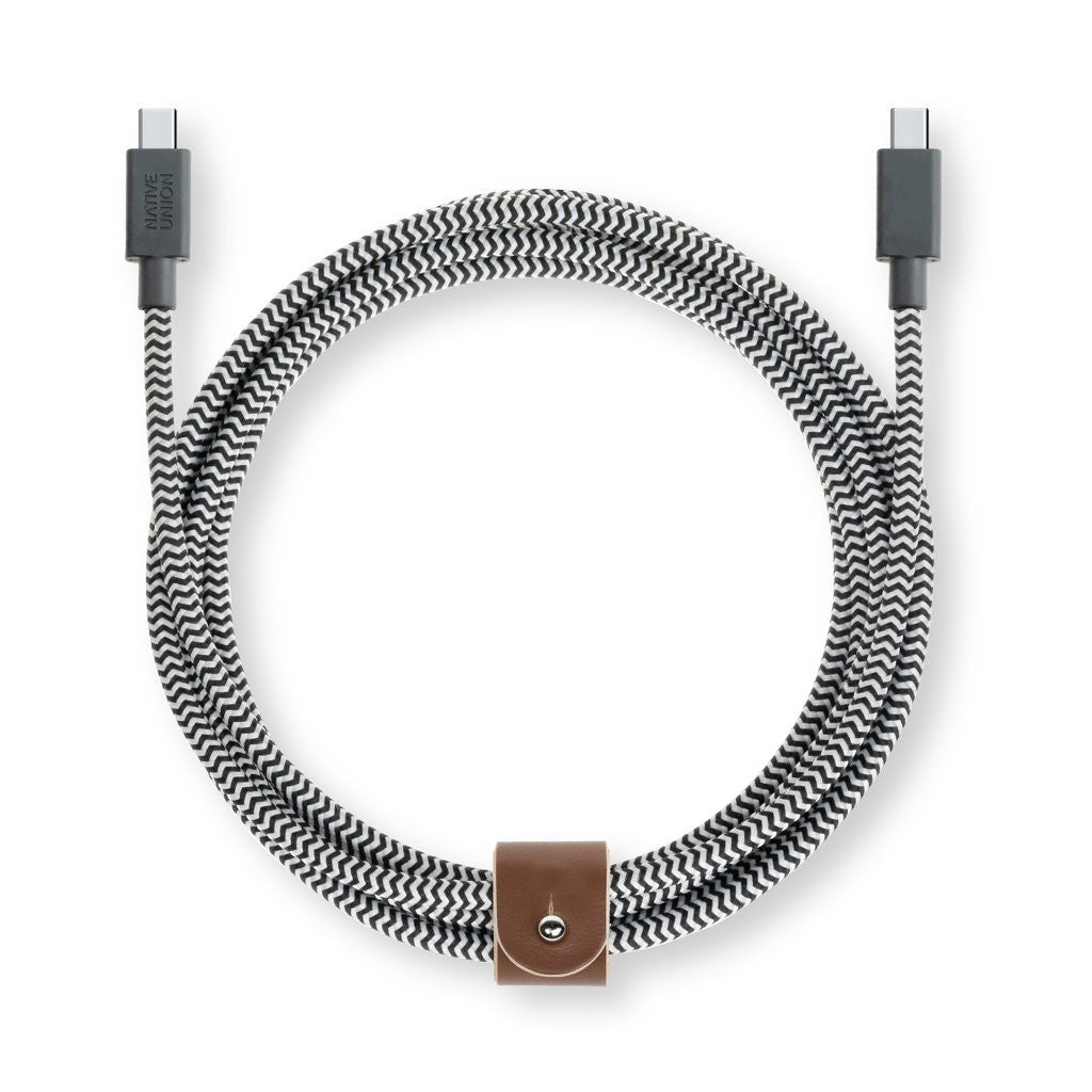Native Union Belt USB-C med læderspænde 2,4 meter - Zebra