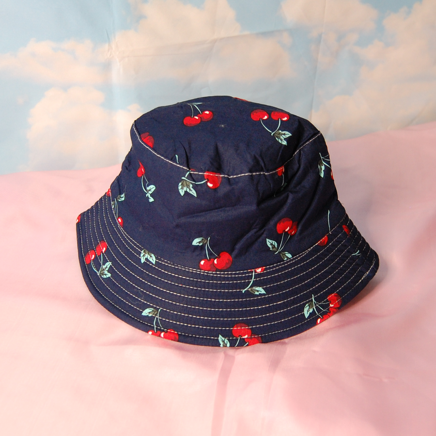 Navy Cherry Bucket Hat