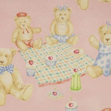 Tea for Teddies Pink - Endoflinefabrics