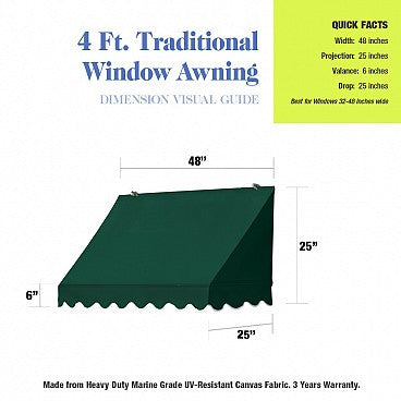 4-Ft. Traditional Window Awning-Forest Green