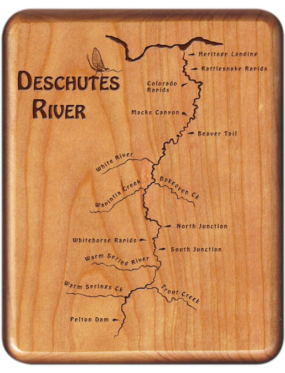 Engraved River Map Fly Boxes - McCloud