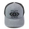 gray trucker hat with black afs double intruder logo