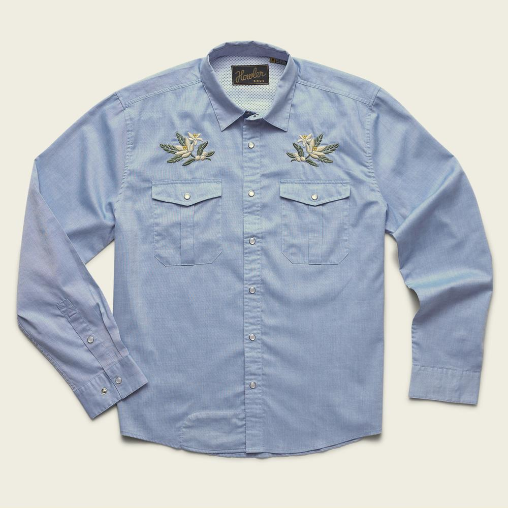Howler Bros - Gaucho Snapshirt - Pale Oxford Blue: Orng Blossom