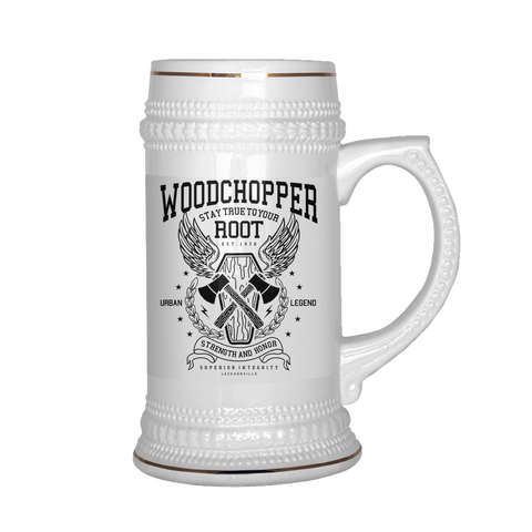 Woodchopper Stay True To Your Root - Beer Stein - bbuzz.me - White - 1