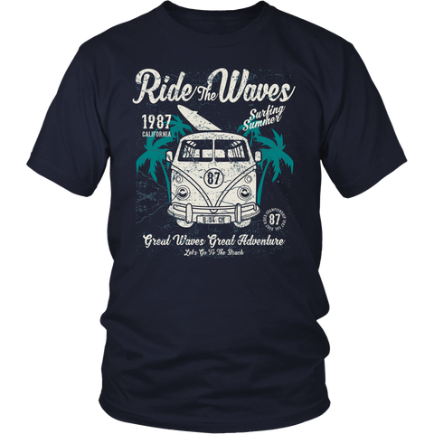 Ride the Waves - bbuzz.me - District Unisex Shirt / Navy / S - 1