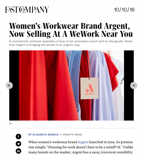 Women's Workwear Brand Argent, Now Selling At A WeWork Near You