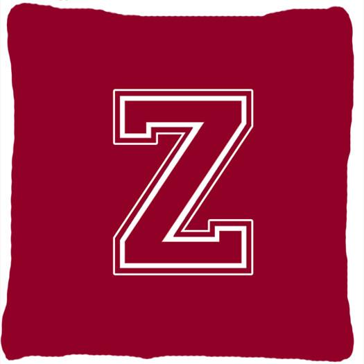 Buy this Monogram Initial Z Maroon and White Decorative   Canvas Fabric Pillow CJ1032