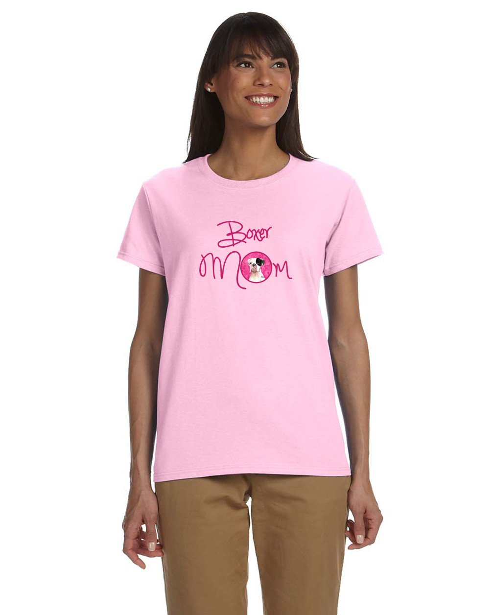 Pink Cooper the Boxer Mom T-shirt Ladies Cut Short Sleeve Medium RDR3019PK-978-M by Caroline's Treasures