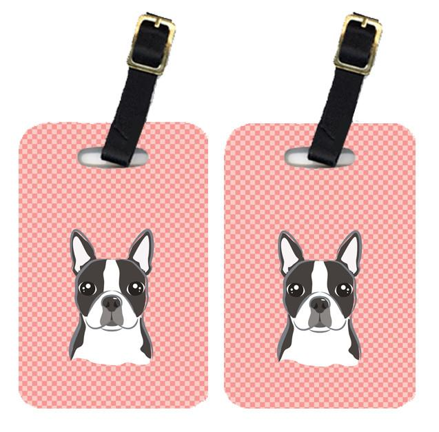 Pair of Checkerboard Pink Boston Terrier Luggage Tags BB1203BT by Caroline's Treasures