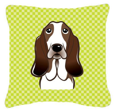 Checkerboard Lime Green Basset Hound Canvas Fabric Decorative Pillow BB1305PW1414 - the-store.com