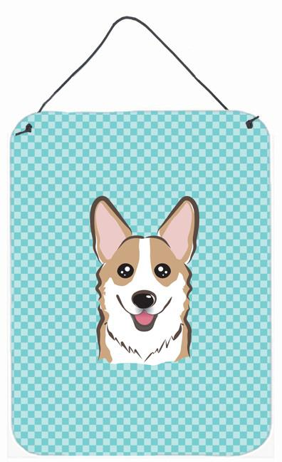 Checkerboard Blue Corgi Wall or Door Hanging Prints BB1191DS1216 by Caroline's Treasures