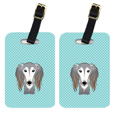 Buy this Pair of Checkerboard Blue Saluki Luggage Tags BB1167BT