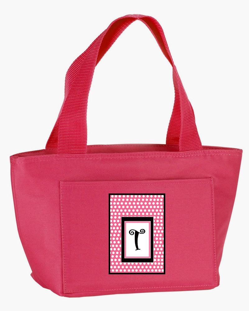 Letter T Monogram - Pink Black Polka Dots Lunch Bag or Doggie Bag by Caroline's Treasures