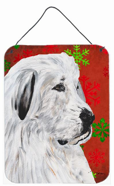 Great Pyrenees Red Snowflakes Holiday Wall or Door Hanging Prints SC9762DS1216 by Caroline's Treasures