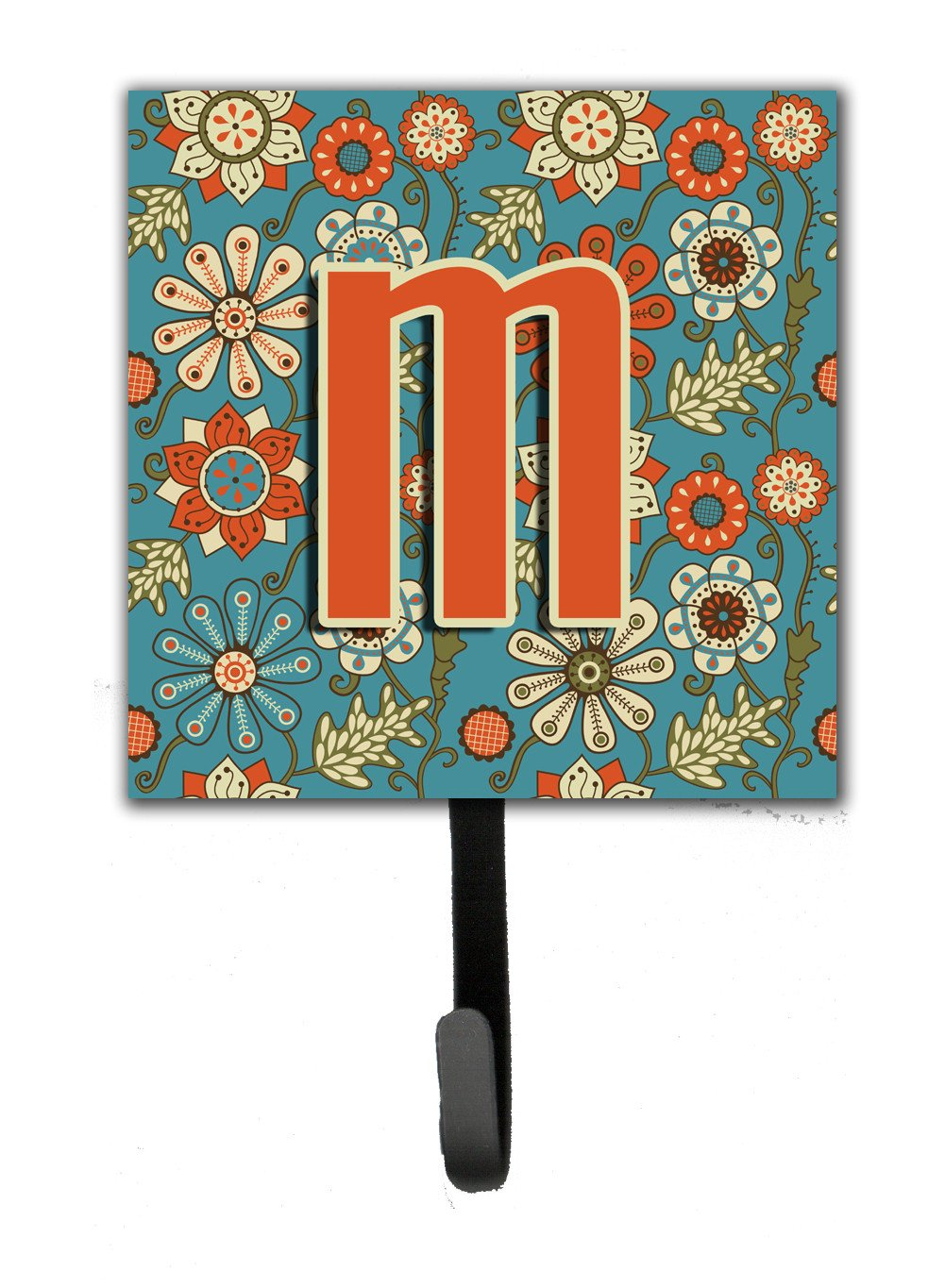 Letter M Flowers Retro Blue Leash or Key Holder CJ2012-MSH4 by Caroline's Treasures