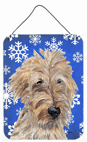 Buy this Goldendoodle Blue Snowflake Winter Aluminium Metal Wall or Door Hanging Prints
