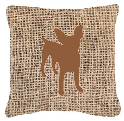 Chihuahua Burlap and Brown   Canvas Fabric Decorative Pillow BB1108 - the-store.com