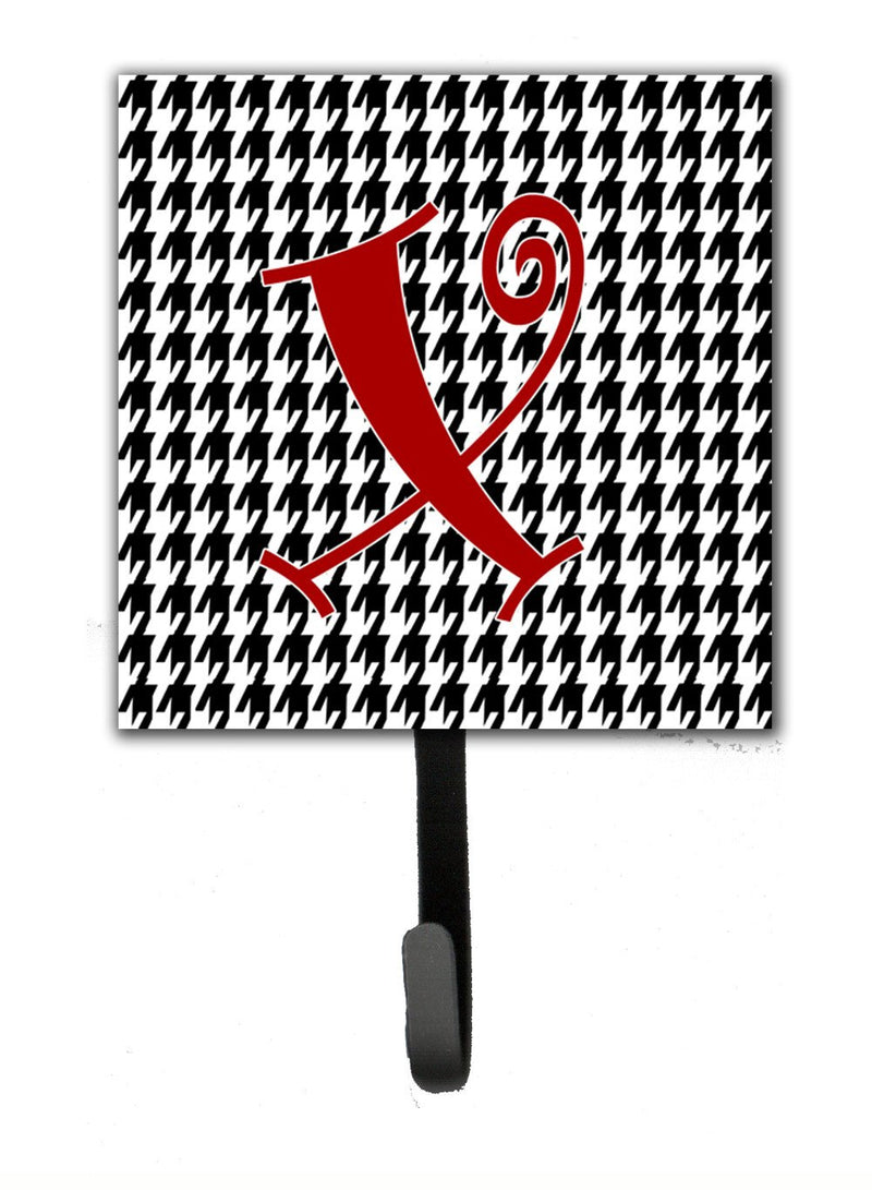 Buy this Letter X Initial Monogram - Houndstooth Black Leash Holder or Key Hook
