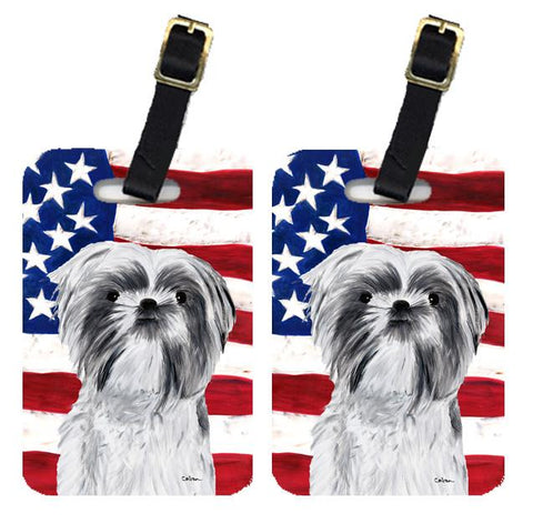 Buy this Pair of USA American Flag with Shih Tzu Luggage Tags SC9015BT