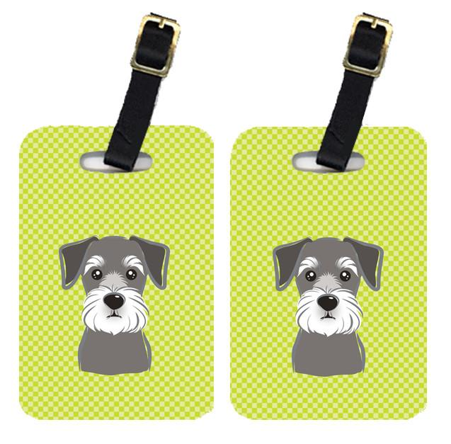 Pair of Checkerboard Lime Green Schnauzer Luggage Tags BB1268BT by Caroline's Treasures