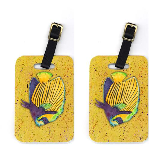 Buy this Pair of Tropical Fish on Mustard Luggage Tags
