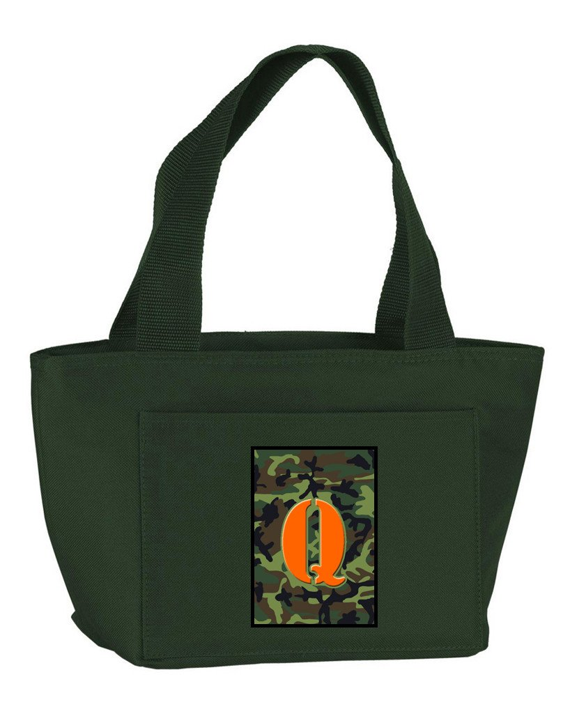 Buy this Letter Q Monogram - Camo Green Zippered Insulated School Washable and Stylish Lunch Bag Cooler CJ1030-Q-GN-8808