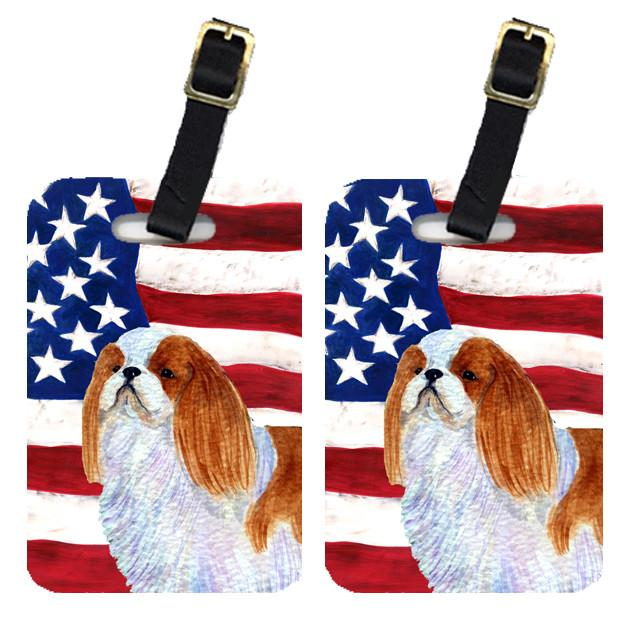 Buy this Pair of USA American Flag with English Toy Spaiel USA Luggage Tags SS4034BT