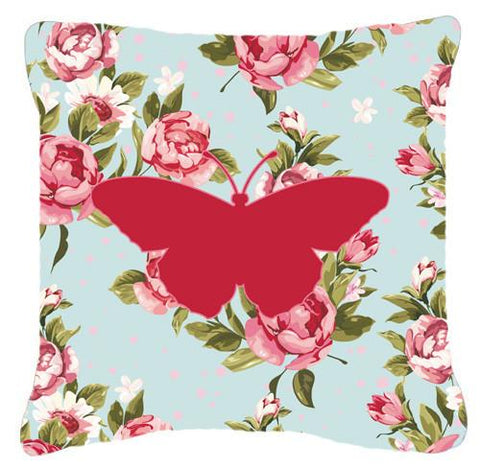 Buy this Butterfly Shabby Chic Blue Roses   Canvas Fabric Decorative Pillow BB1050