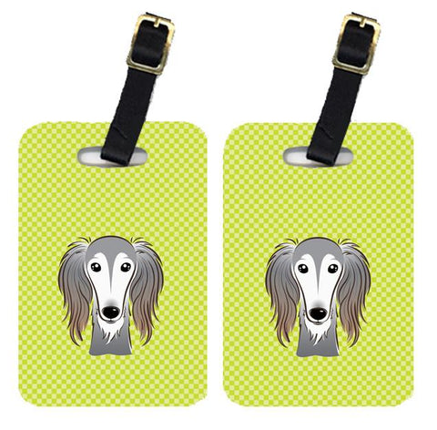 Buy this Pair of Checkerboard Lime Green Saluki Luggage Tags BB1291BT