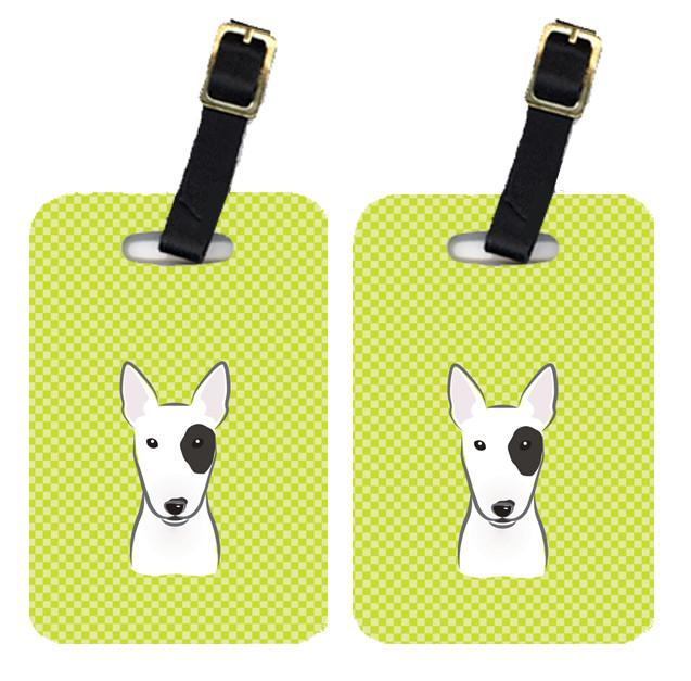 Pair of Checkerboard Lime Green Bull Terrier Luggage Tags BB1271BT by Caroline's Treasures