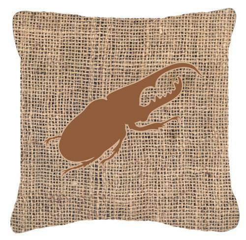Beetle Burlap and Brown   Canvas Fabric Decorative Pillow BB1056 - the-store.com