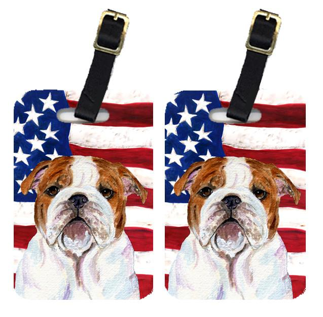 Buy this Pair of USA American Flag with Bulldog English Luggage Tags SS4046BT